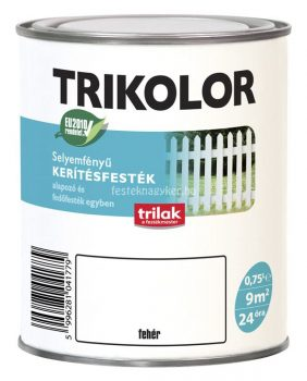 Trikolor selyemfényű kerítésfesték fehér 2,5l